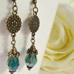 Teal long earrings, dangle,..