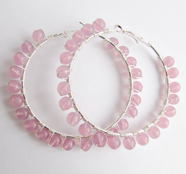Big pink hoop earrings, romantic jewelry