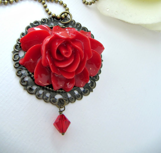 Vintage style red flower necklace, Mother's Day, romantic jewelry
