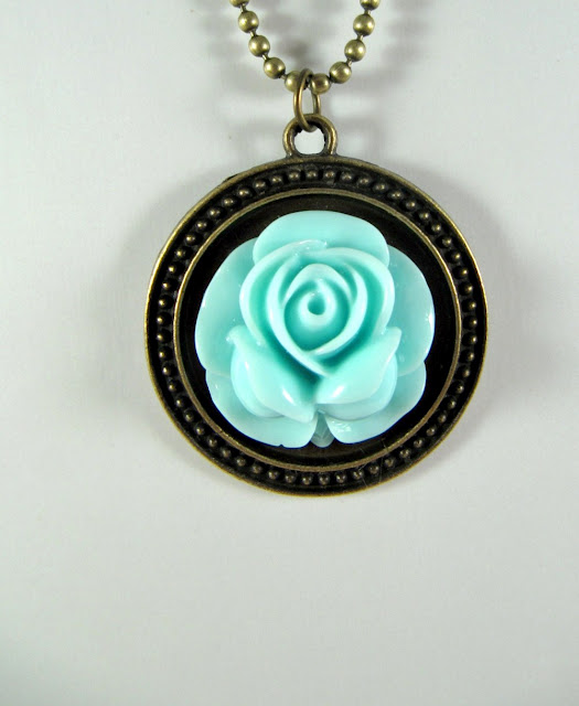 Vintage style blue rose necklace, Mother's Day, romantic jewelry