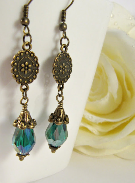 Teal long earrings, dangle, vintage style