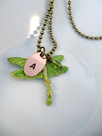 Dragonfly necklace, hand stamped initial