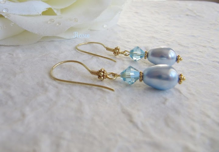 Blue gold earrings, 24K gold vermeil, sale, Swarovski pearl, crystals, dangle