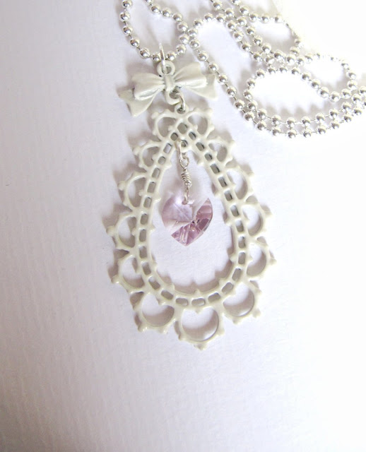 Romantic offwhite necklace, Swarovski crystal heart, romantic jewelry