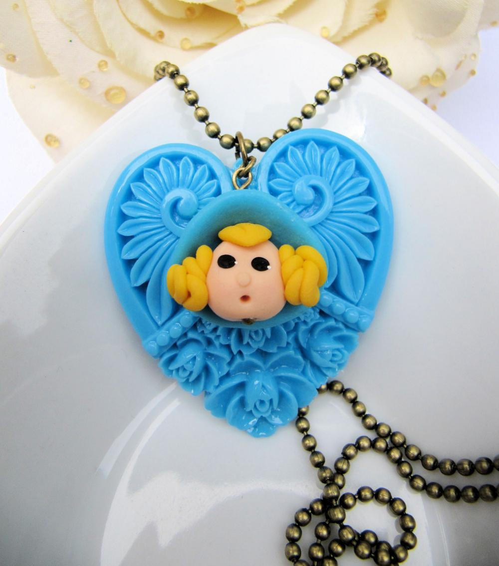 Cute large blue heart necklace, girly, cute jewelry