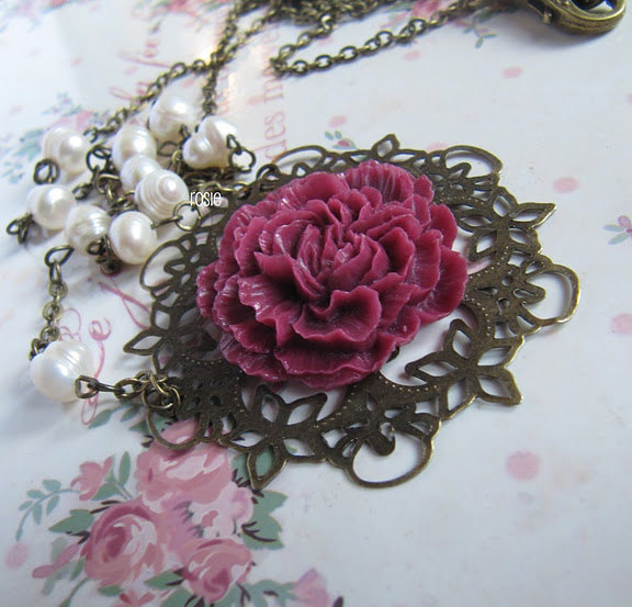 Deep pink long flower necklace and matching pearl earrings