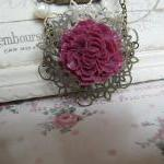 Deep pink long flower neckl..